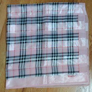 Rare Burberrys Pink Tartan Silk Scarf